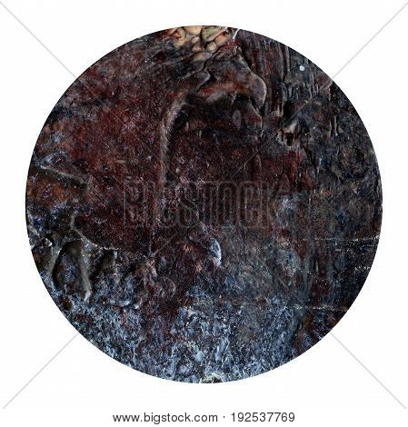 Acrylic abstract dark brown circle isolated on white background. Modern spot of round shape painted in oil in brown color. Monochrome brown acrylic texture. Circle with copyspace for text.