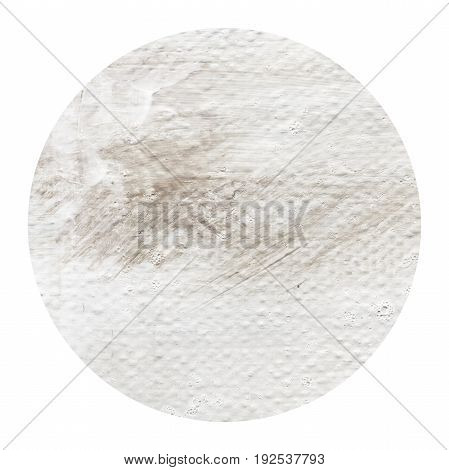 Acrylic abstract light grey beige circle isolated on white background. Modern spot of round shape painted in oil in beige color. Monochrome beige acrylic texture. Circle with copyspace for text.
