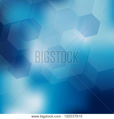 Abstract digital hexagon shapes on blue background