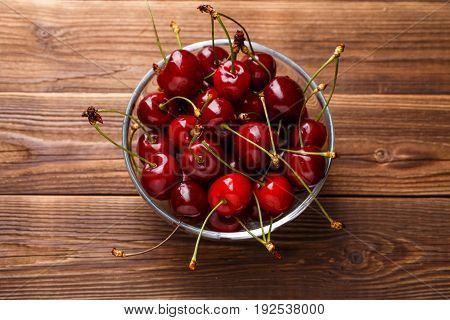 Bowl with fresh red Cherries. Healthy food concept