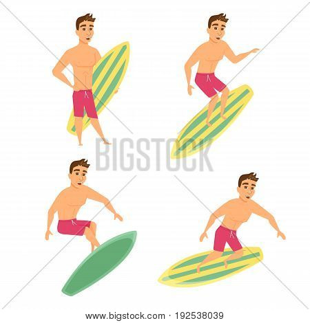 Surfer man poses set. Guy in shorts stand on beach holding surfboard and ride. Summer male character. Cartoon illustration isolated on white