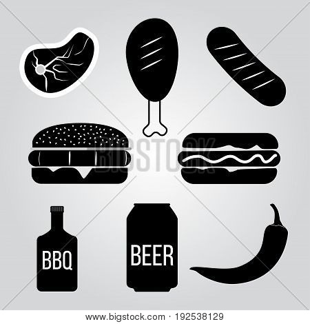 Vector set of barbecue and grill elements. Vector illustration. Hand drawn design elements.