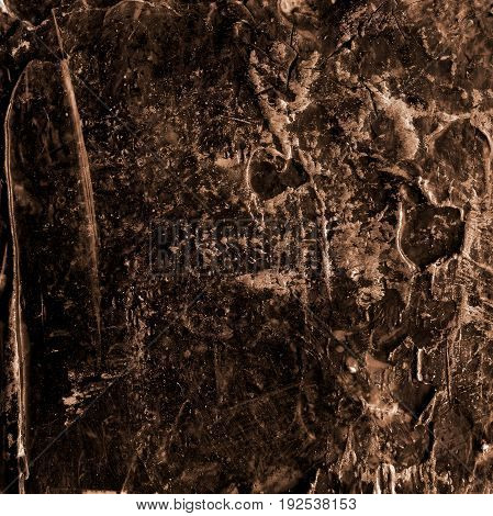 Abstract dark brown acrylic hand paint background. Part of oil painting with brush strokes. Background of detail of brown acrylic painting.