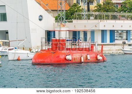Montenegro, Herceg-novi - May 27/2017: An Unusual Submarine Rolls Children Through The Depths Of The