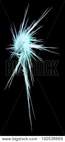 Frost star shape abstract vertical isolated over black
