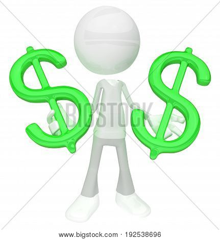 White symbolic figure standing with green dollar symbols 3d illustration horizontal isolated