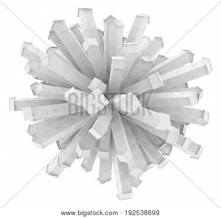 Small white houses tall rooftops radiating from center 3d illustration horizontal isolated