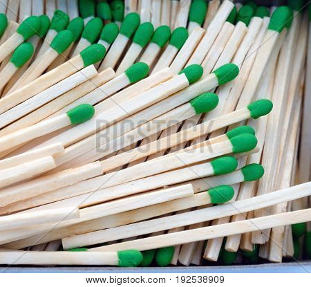 Match Sticks piled in a box to ignite flame