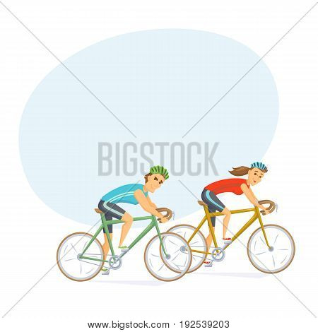 Cyclists on road bikes. Couple on cycling competition cartoon character vector illustration. Athlete race