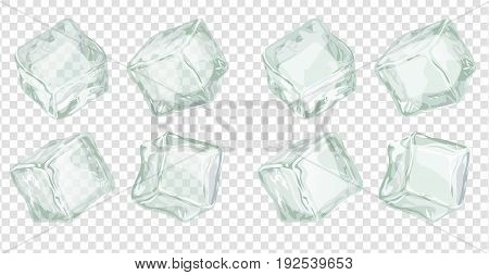 Ice cubes set isolated on white background. Transparent and opaque frozen water block vector iilustration for cocktails and cool drinks
