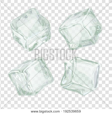 Ice cubes set isolated on white background. Transparent frozen water block vector iilustration for cocktails and cool drinks