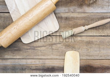 Wood bakery and kitchen tool on wood table