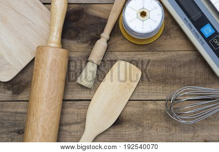 Bakery And Cooking Tools With Kitchen Timer, Scales On Wood Table
