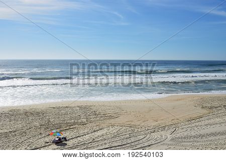 Atlantic Ocean, Costa Nova Beach In Aveiro, Portugal