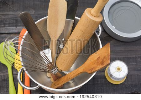 Bakery And Cooking Tools With Kitchen Timekeeping On Wood Table
