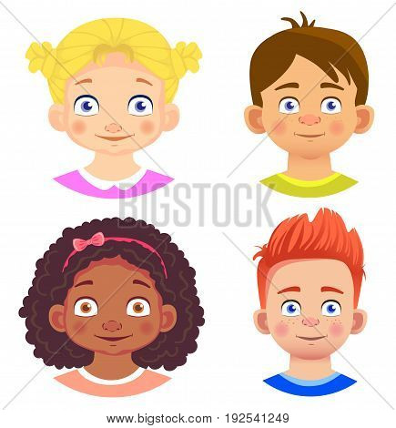 Set of girls and boy character. Human emotions. Facial expression. Set of emoticons. Flat vector illustration.