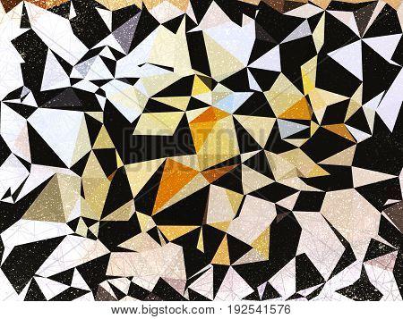 Grunge geometric black , white and orange abstract background illustration