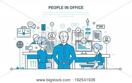 People in office, teamwork, partners, colleague, business people, communications, brainstorm, cooperation. Illustration thin line design of vector doodles infographics elements