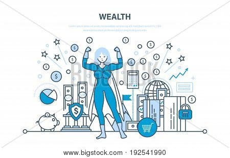 Wealth, financial investments, marketing, security of deposits, guarantee of secure financial savings and money turnover. Illustration thin line design of vector doodles, infographics elements.