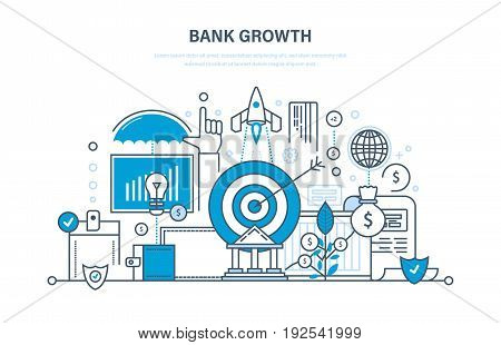 Bank growth, investment, security of deposits and payments, financial success, investment growth, savings, e-commerce, trading. Illustration thin line design of vector doodles, infographics elements.