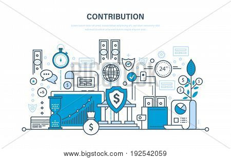 Contribution, investment, deposits, security payments and storage of finance, marketing, analysis, savings. Illustration thin line design of vector doodles, infographics elements.