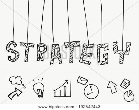Strategy word hanging cartoon illustration on white background