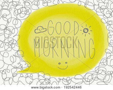 Good morning hand writing and smile face doodle style illustration