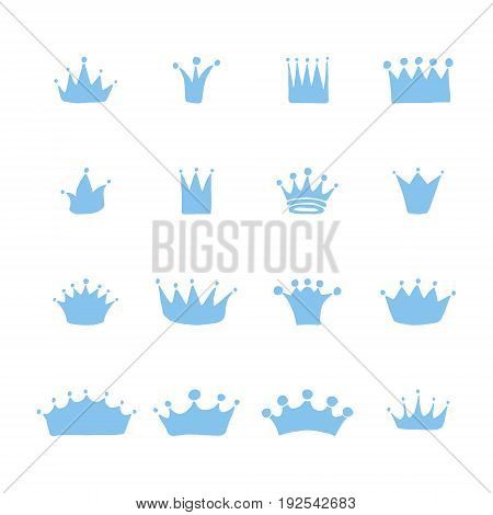 Vector set of hand drawn crowns for young prince or princess. King and queen crown doodle style.