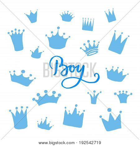 Vector set of hand drawn crowns for young prince. King and queen crown doodle style.