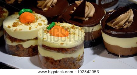 Homemade carrot cake and chocolate mouse desserts.