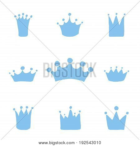 Vector set of hand drawn crowns for young prince. King crown doodle style.