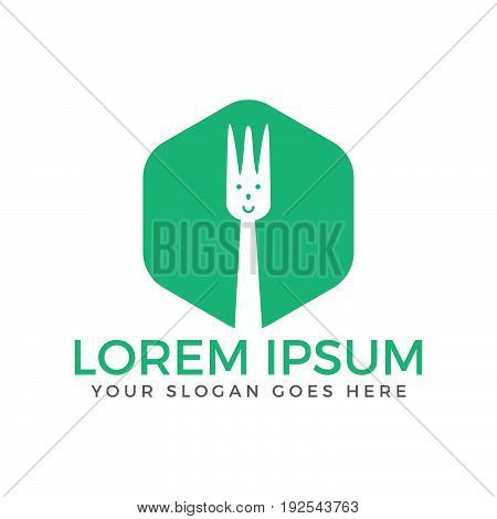 Fork icon food logo design. Logo design for restaurant with abstract face.