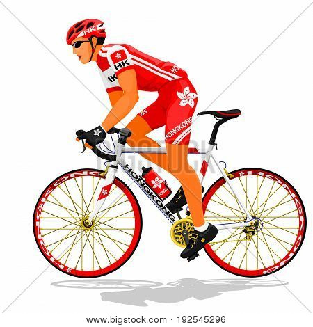 Hongkong national road cyclist on transparent background