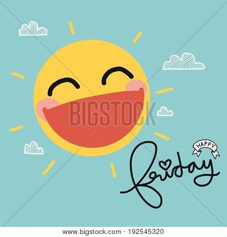 Happy Friday sun smile cute cartoon illustration