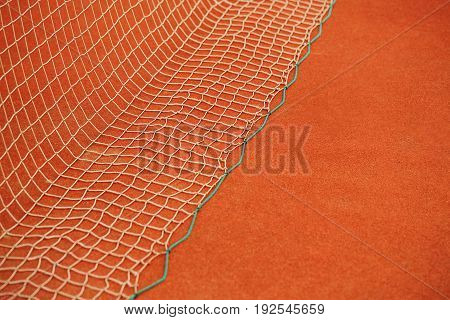 Tennis net on the tennis court. The concept of sport.