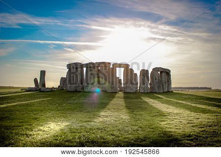 stonehenge during the setting sun england monument