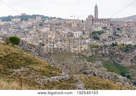 The ancient town of Sassi di Matera grew up on a of the ravine created by the river Gravina di Matera - Basilicata Italy