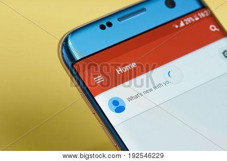 New york, USA - June 23, 2017: Google plus application menu on smartphone screen close-up. Using Google plus app