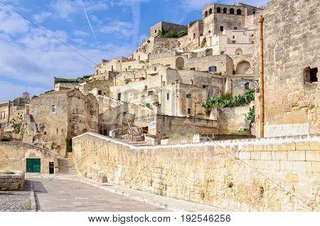 Via Madonna della Virtu runs right along the Gravina at the edge of Sasso Barisano - Matera Basilicata Italy