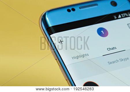 New york, USA - June 23, 2017: Skype application menu on smartphone screen close-up. Using skype app