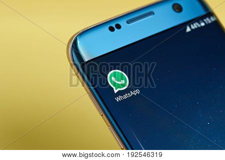 New york, USA - June 23, 2017:Whatsapp  messenger application icon on smartphone screen close-up. Whatsapp messenger app icon with copy space on screen