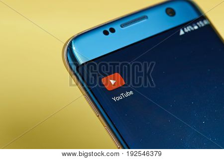 New york, USA - June 23, 2017: Youtube application icon on smartphone screen close-up. Youtube app icon with copy space on screen