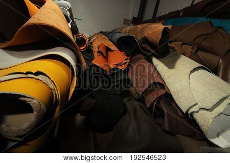 Leather selection / stock of leather in textile manufacturing