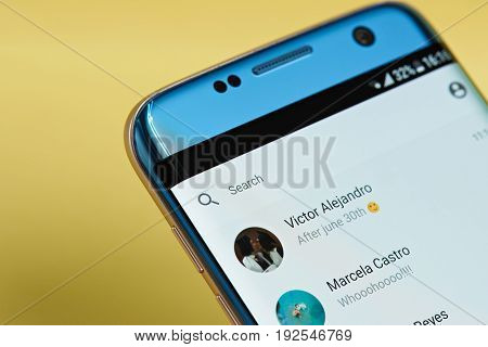 New york, USA - June 23, 2017: Facebook messenger application menu on smartphone screen close-up. Using Facebook messenger app