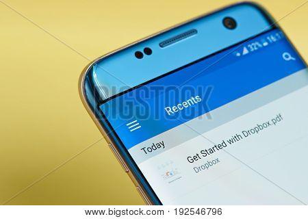 New york, USA - June 23, 2017: Dropbox application menu on smartphone screen close-up. Using Dropbox app
