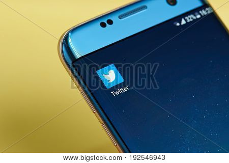New york, USA - June 23, 2017: Twitter application icon on smartphone screen close-up. Twitter app icon with copy space on screen