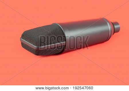Dynamic Microphone On Red Background. Mic