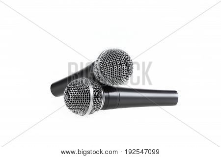 Several Microphones On Isolated White Background