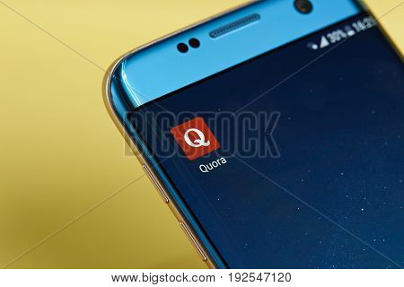 New york, USA - June 23, 2017: Quora application icon on smartphone screen close-up. Quora app icon with copy space on screen