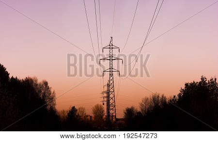 High-voltage line in the forest goes into the sunset, silhouette